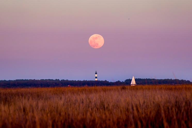 moonrise, Bodie island, lighthouse