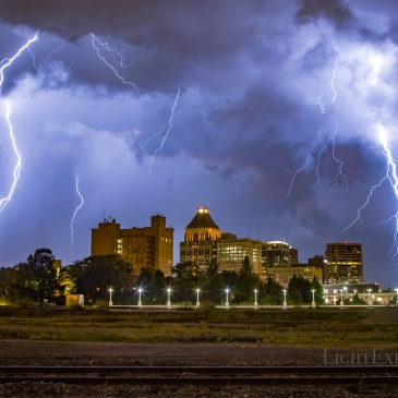 lightning, Greensboro, downtown, North Carolina