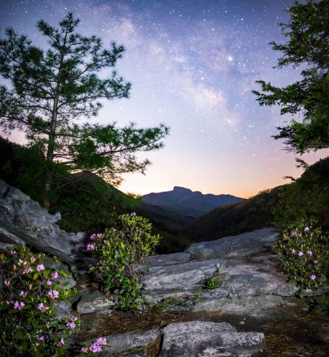 table rock, Milky Way, linville gorge