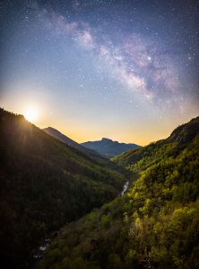Milky Way, moonrise, linville gorge